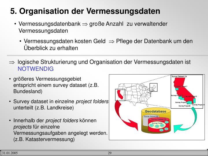 5. Organisation der Vermessungsdaten