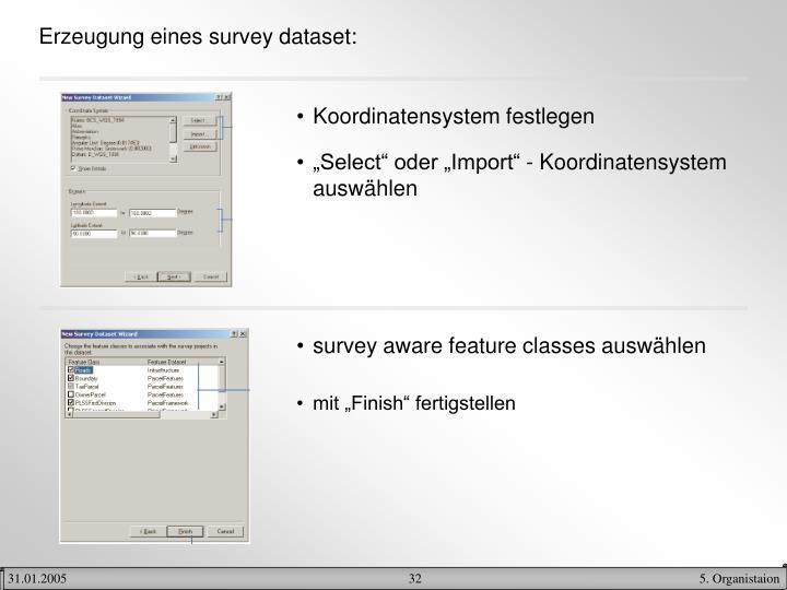 Erzeugung eines survey dataset: