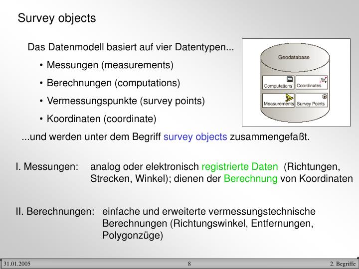 Survey objects