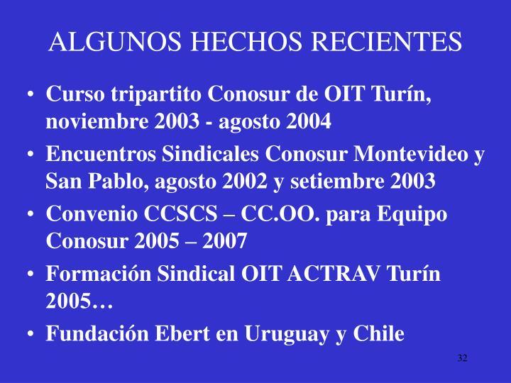 ALGUNOS HECHOS RECIENTES