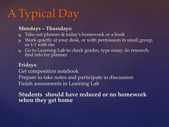 Mondays – Thursdays: