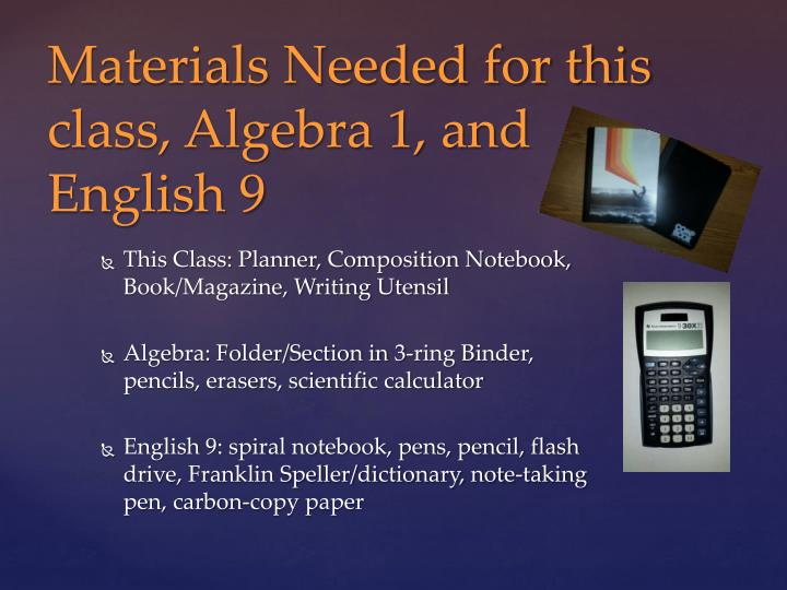 This Class: Planner, Composition Notebook, Book/Magazine, Writing Utensil
