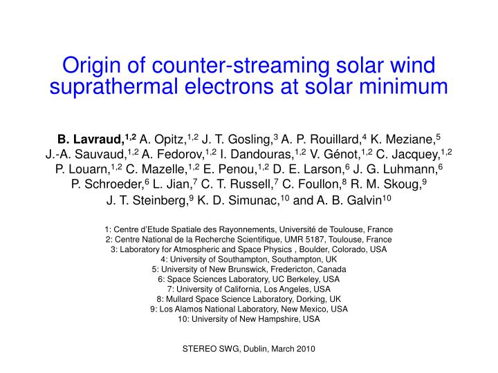 Origin of counter streaming solar wind suprathermal electrons at solar minimum