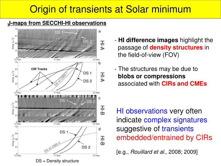 Origin of transients at Solar minimum