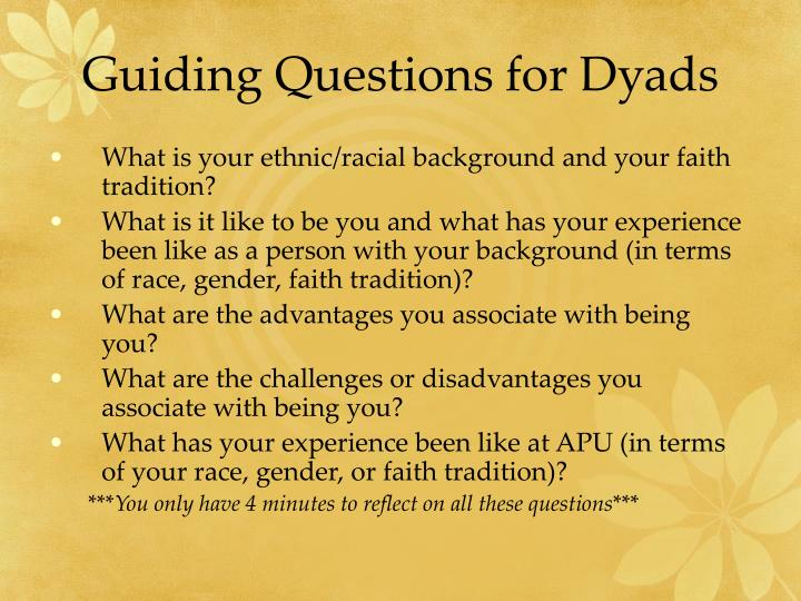 Guiding Questions for Dyads