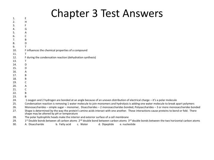 Chapter 3 Test Answers
