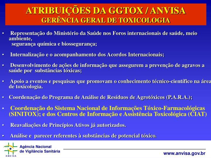 ATRIBUIES DA GGTOX / ANVISA