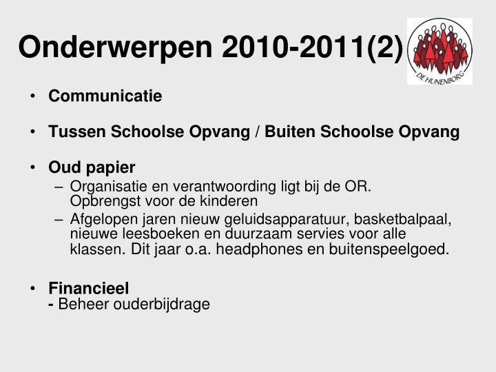 Onderwerpen 2010-2011(2)
