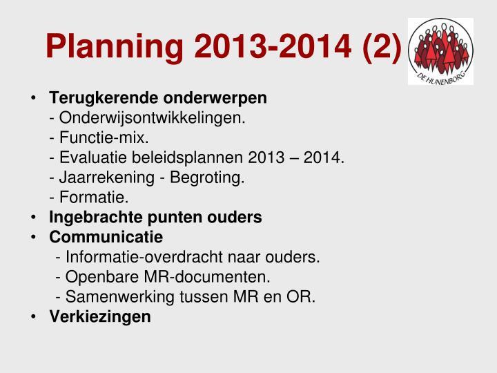 Planning 2013-2014 (2)