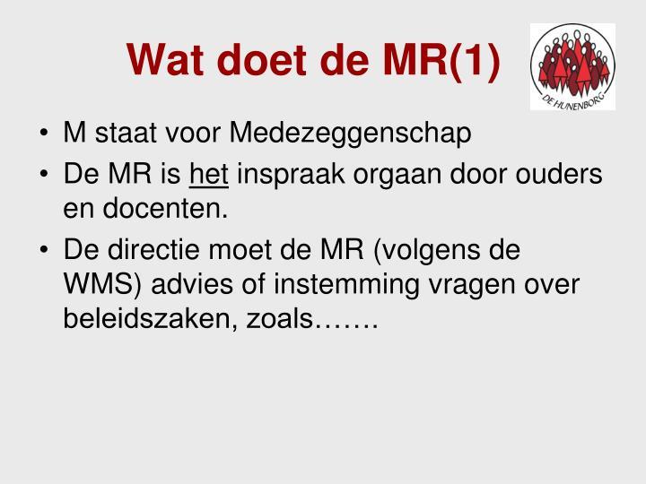 Wat doet de MR(1)