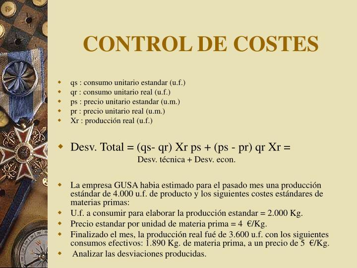 CONTROL DE COSTES