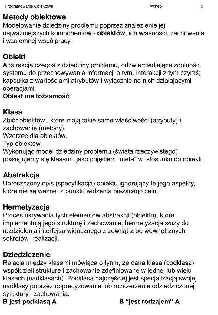 Metody obiektowe