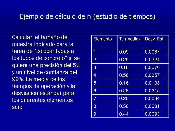 Ejemplo de cálculo de n (estudio de tiempos)