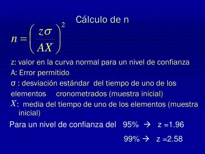 Cálculo de n