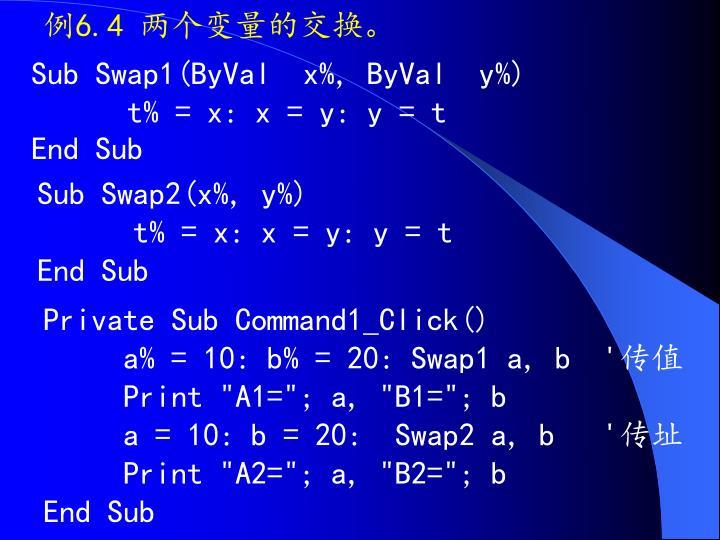 例6.4 两个变量的交换。