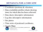 metadata for a cors site
