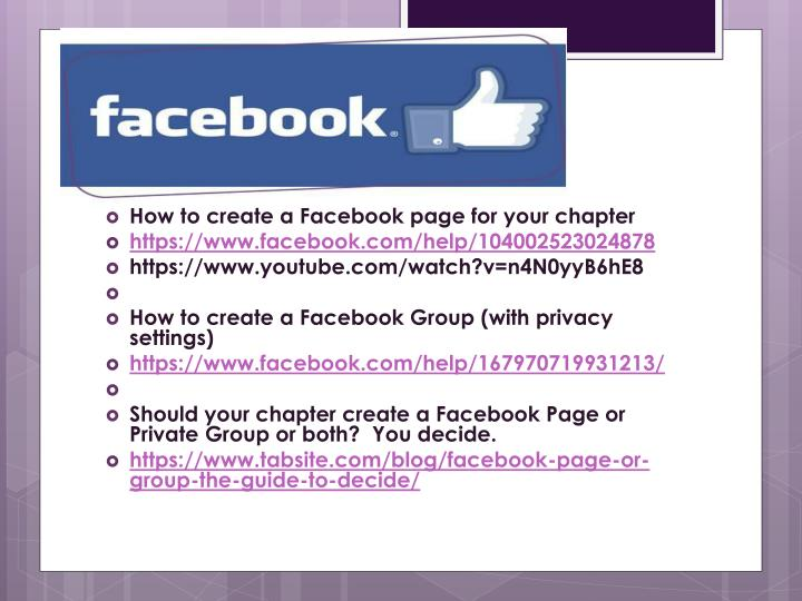 How to create a Facebook page for your chapter