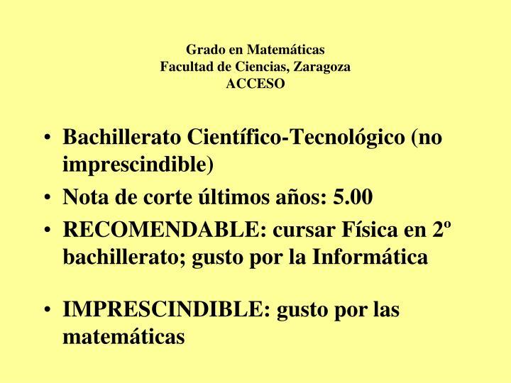 Grado en Matemáticas