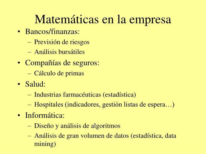 Matemáticas en la empresa