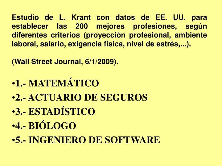 Estudio de L. Krant con datos de EE. UU. para establecer las 200 mejores profesiones, según diferentes criterios (proyección profesional, ambiente laboral, salario, exigencia física, nivel de estrés,...).