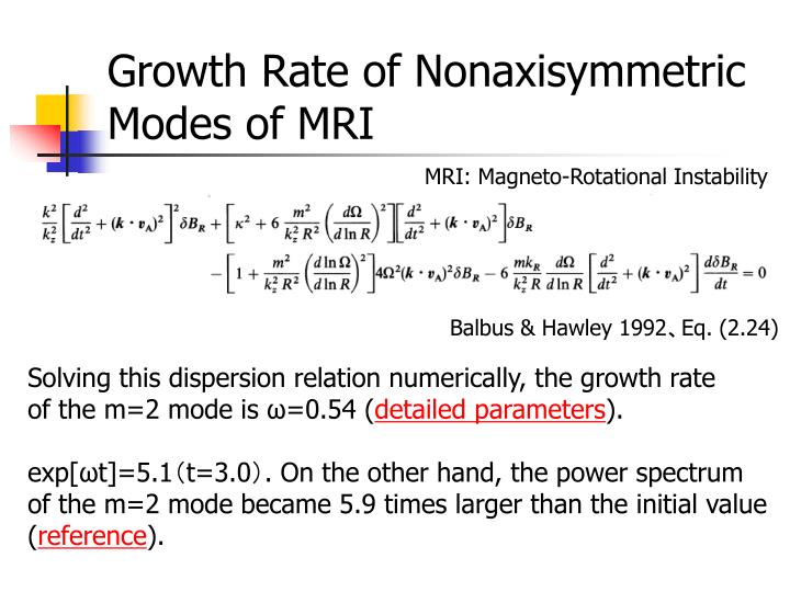Growth Rate of Nonaxisymmetric Modes of MRI