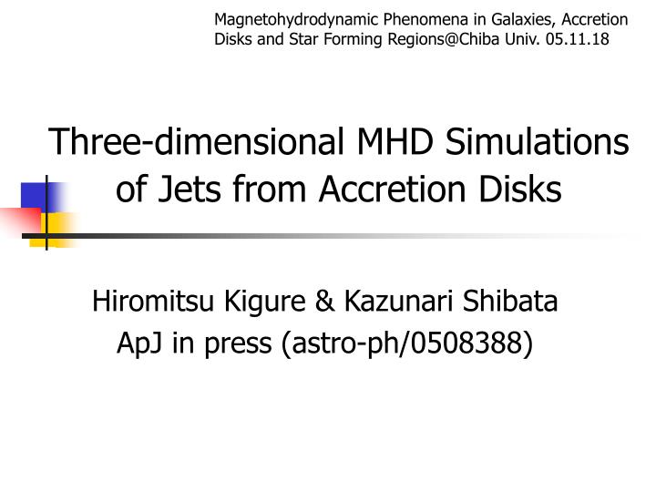Three dimensional mhd simulations of jets from accretion disks