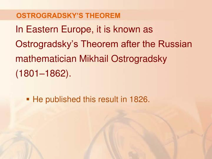 OSTROGRADSKY'S THEOREM