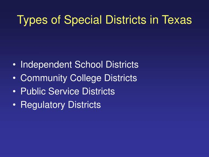 Types of Special Districts in Texas
