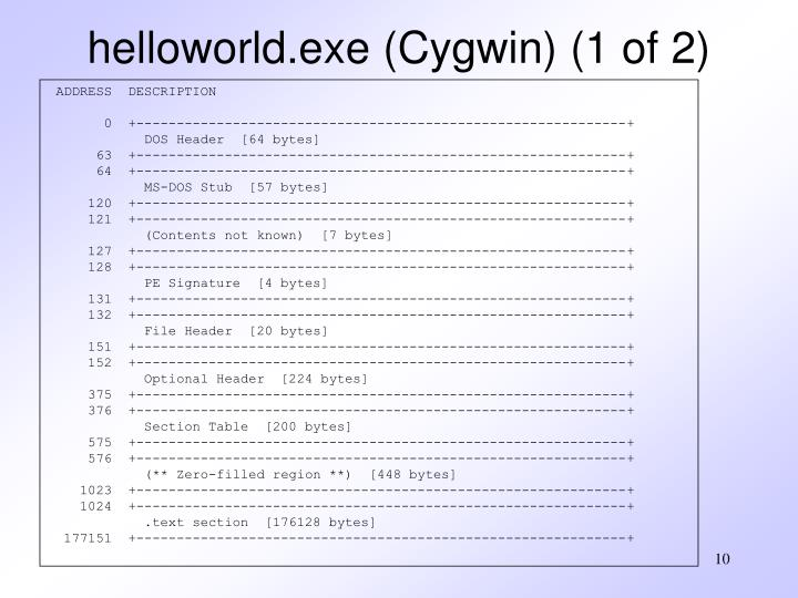 helloworld.exe (Cygwin) (1 of 2)