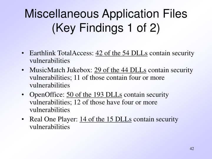 Miscellaneous Application Files