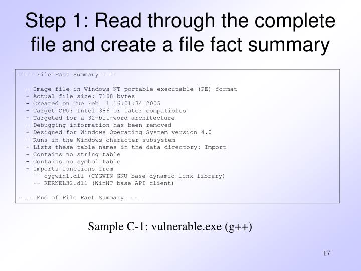Step 1: Read through the complete file and create a file fact summary
