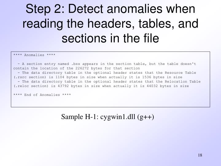 Step 2: Detect anomalies when reading the headers, tables, and sections in the file