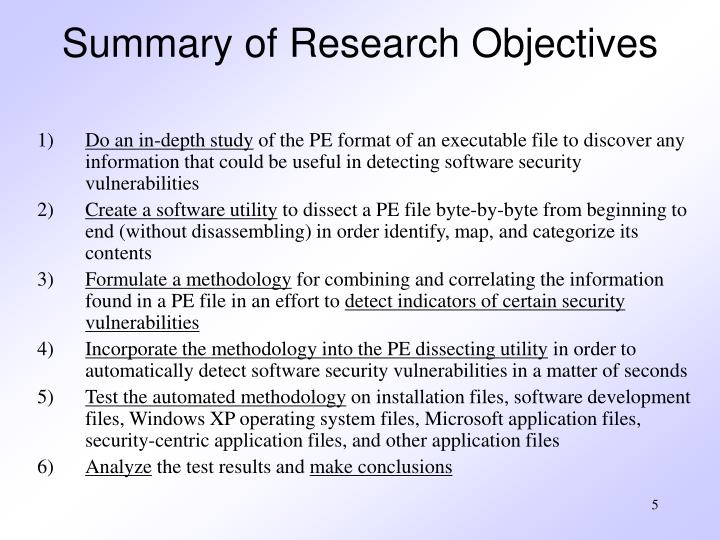Summary of Research Objectives