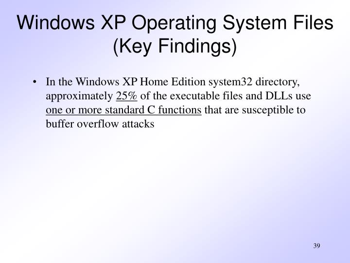 Windows XP Operating System Files (Key Findings)