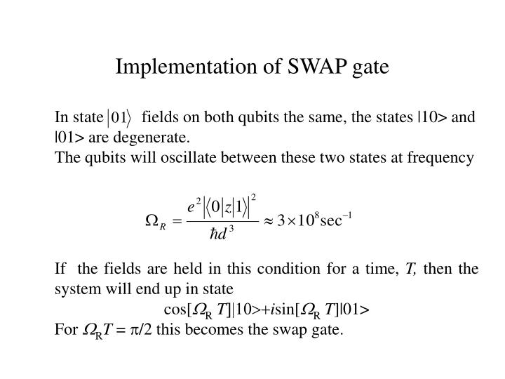 Implementation of SWAP gate