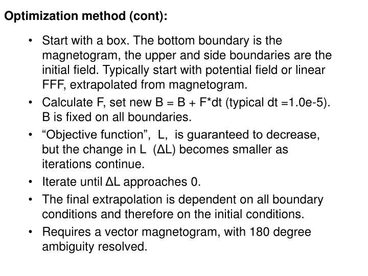 Optimization method (cont):