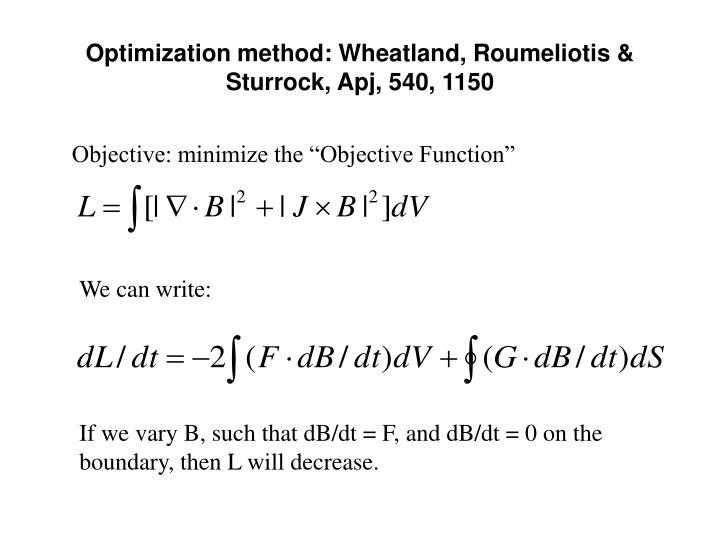 Optimization method: Wheatland, Roumeliotis & Sturrock, Apj, 540, 1150