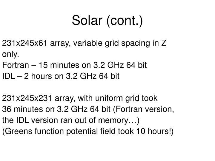 231x245x61 array, variable grid spacing in Z