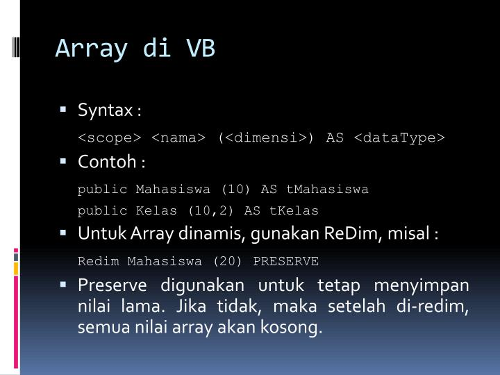 Array di VB