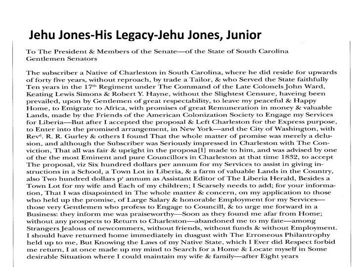Jehu Jones-His Legacy-Jehu Jones, Junior