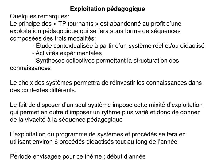 Exploitation pédagogique