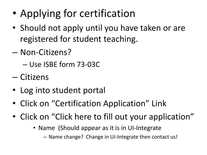 Applying for certification