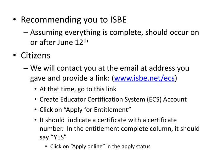 Recommending you to ISBE