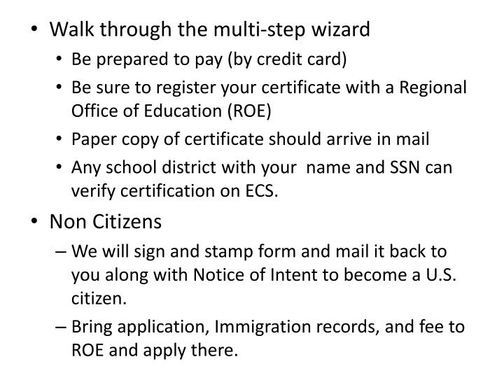 Walk through the multi-step wizard