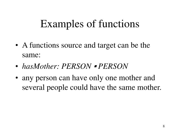 Examples of functions