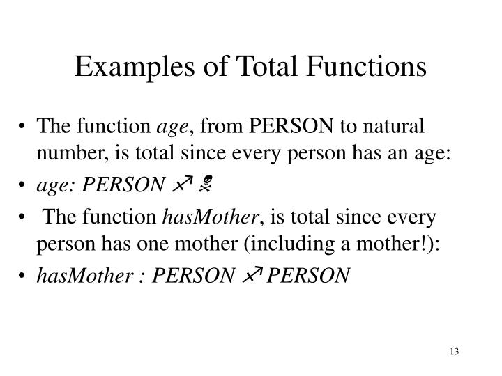 Examples of Total Functions