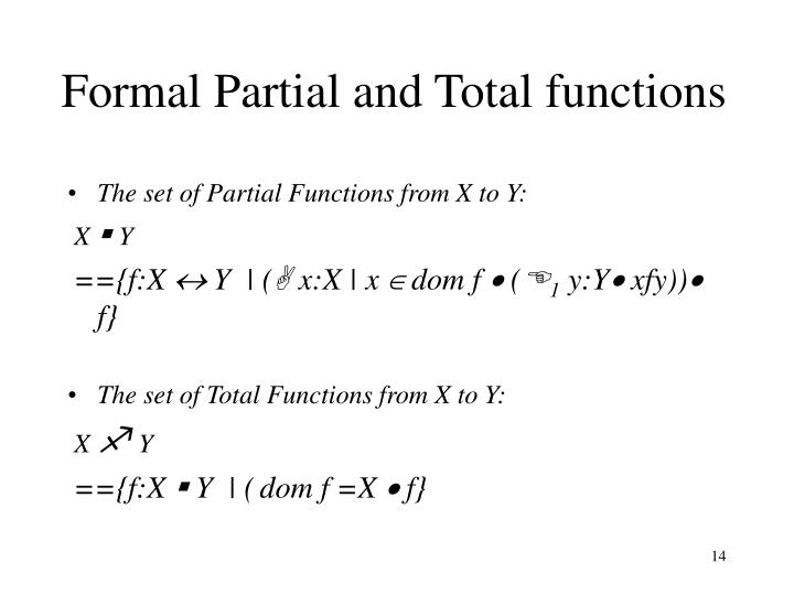 Formal Partial and Total functions