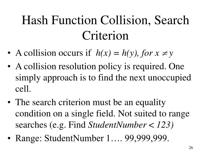 Hash Function Collision, Search Criterion