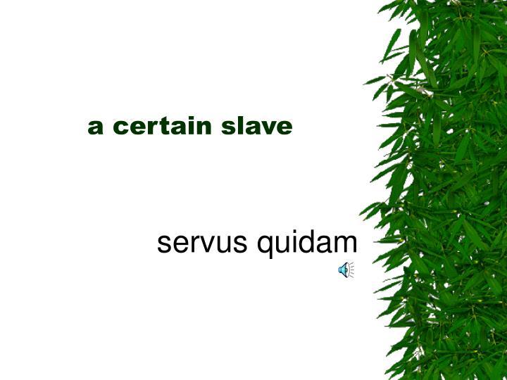 a certain slave