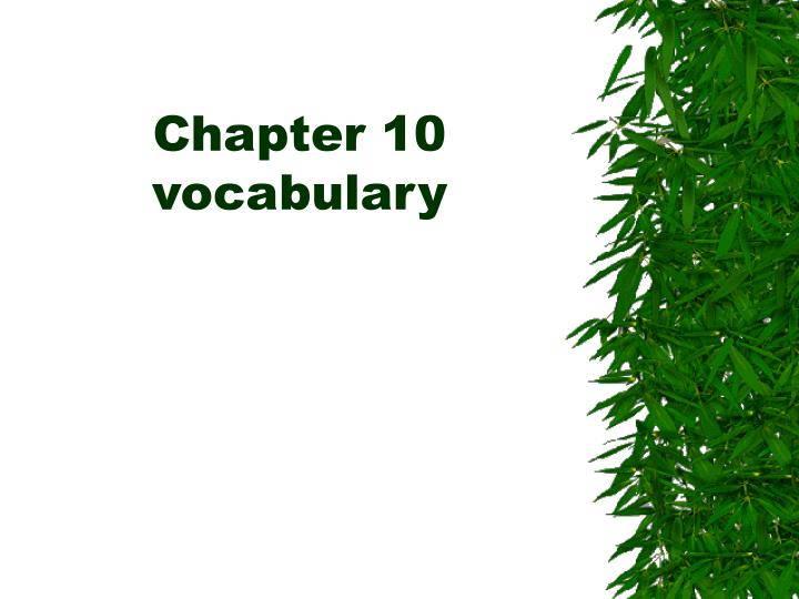 Chapter 10 vocabulary